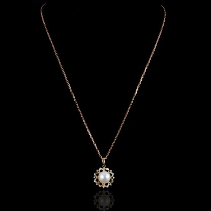 Rose Fleur de Neige Necklace | Fresh Water Pearl | 18K Gold