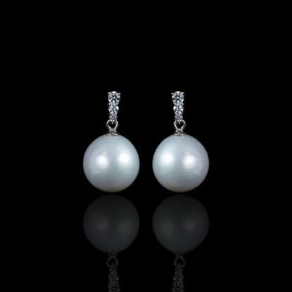Tulipe Earrings | Fresh Water Pearls | 14K White Gold