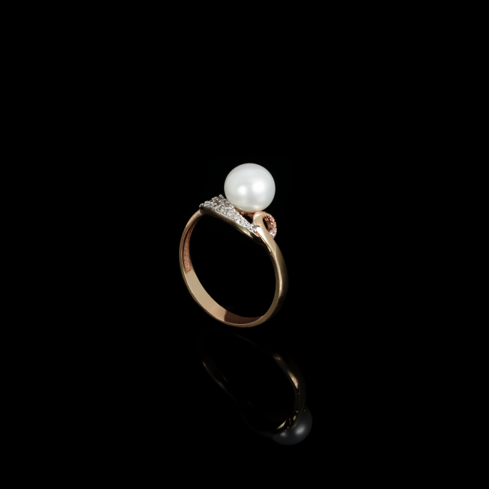 Demi Coeur Ring | Fresh Water Pearl | 18K Rose Gold
