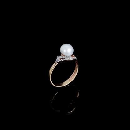 Demi Coeur Ring   Fresh Water Pearl   18K Rose Gold