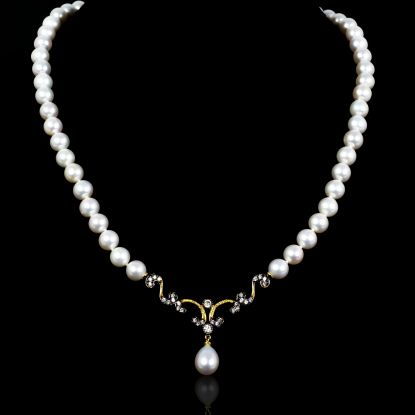 Nuit Noir Necklace | Fresh Water Pearl | 18K Gold