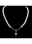 Nuit Noir Necklace | Fresh Water Pearl | 18K White Gold
