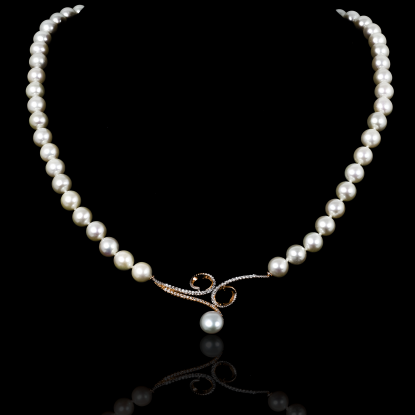 Infini Necklace | Fresh Water Pearls | 18K Rose Gold