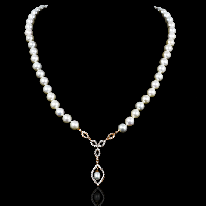 Déchirer Necklace   Fresh Water Pearl   18K Rose Gold