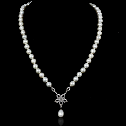 Étoile Necklace | Fresh Water Pearls | 18K White Gold