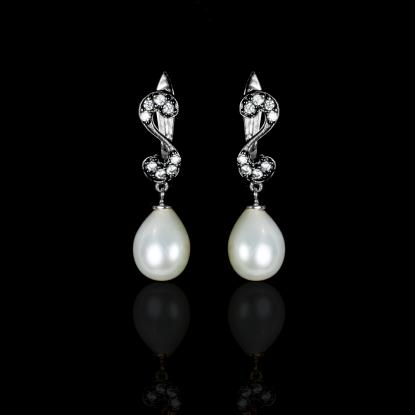 Nuit Noir Earrings | Fresh Water Pearl | 18K White Gold