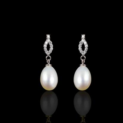 Étoile Earrings | Fresh Water Pearls | 18K White Gold