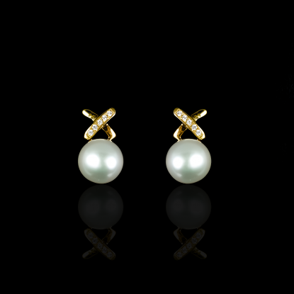X Earrings | Fresh Water Pearl | 14K Gold