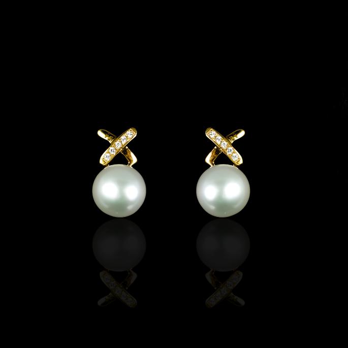 X Earrings | Fresh Water Pearl | 14K Gold