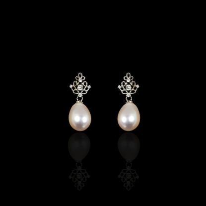 Tiara Earrings | Fresh Water Pearl | 14K White Gold