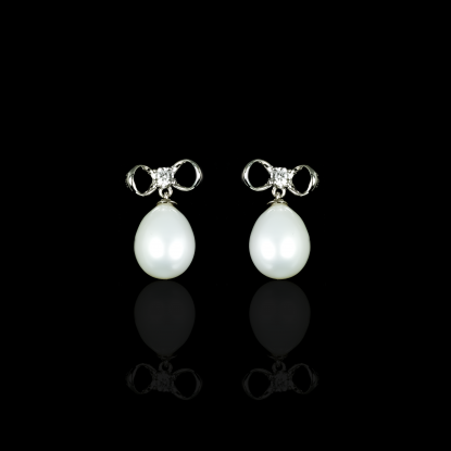 Noeud Earrings | Fresh Water Pearl | 14K White Gold