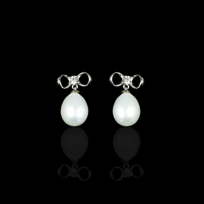 Noeud Earrings | Fresh Water Pearl | 14K White Gold
