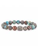 Facetated Chrysocolla Beaded Bracelet   Sterling Silver Jewelry   Multicolored Gemstones