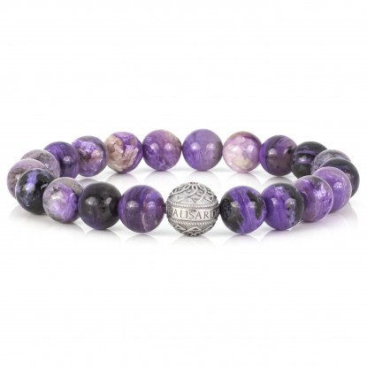 Charoite Beaded Bracelet | Sterling Silver Bead | Purple Gemstones