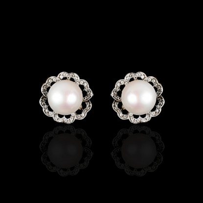 Printemps Earrings | Fresh Water Pearl | 18K White Gold