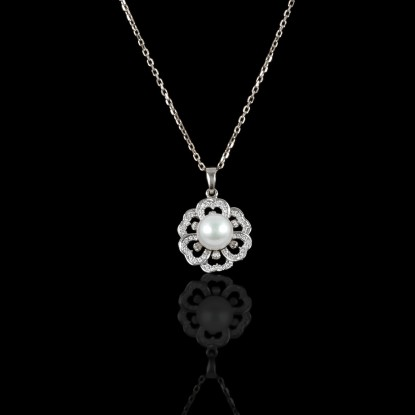 Printemps Necklace | Fresh Water Pearl | 18K White Gold