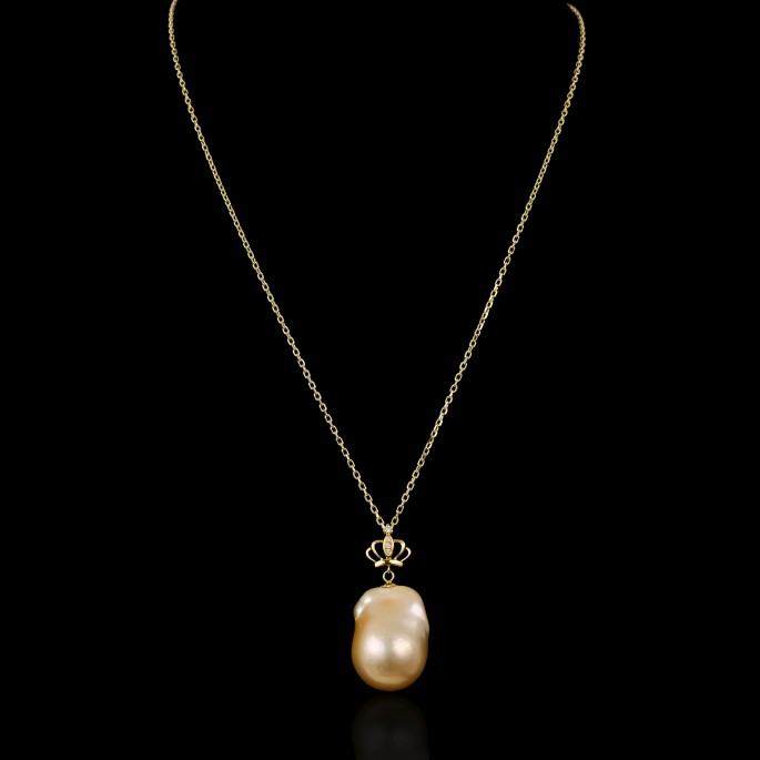 Baroque Couronne Necklace | Fresh Water Pearl |18K Gold