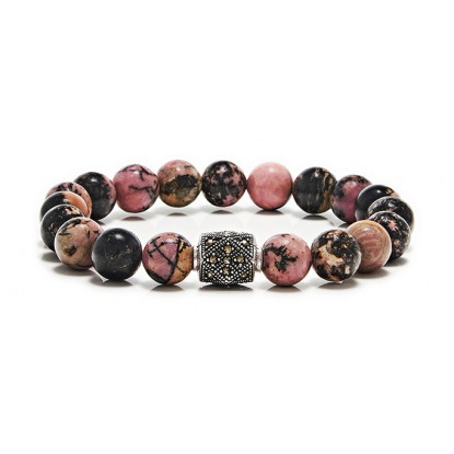 Rhodonite Beaded Bracelet | Sterling Silver Jewelry | Multicolored Gemstones
