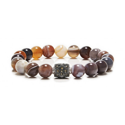 Botswana Agate Beaded Bracelet | Sterling Silver Jewelry | Multicolored Gemstones