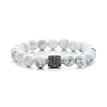 White Howlite Beaded Bracelet | Sterling Silver Jewelry | White Gemstones