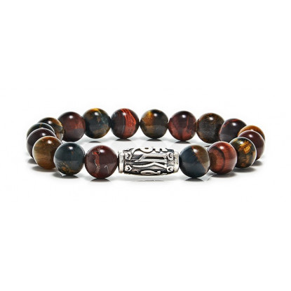 Red Mixed Tiger Eye Beaded Bracelet | Sterling Silver Jewelry | Multicolored Gemstones