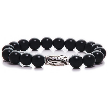 Black Onyx Beaded Bracelet | Sterling Silver Jewelry | Black Gemstones