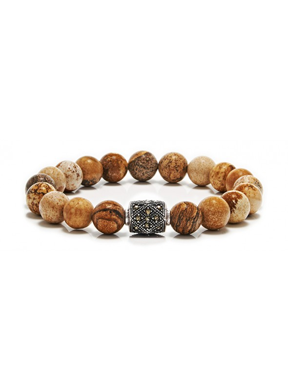 Picture Jasper Beaded Bracelet | Sterling Silver Jewelry | Brown Gemstones