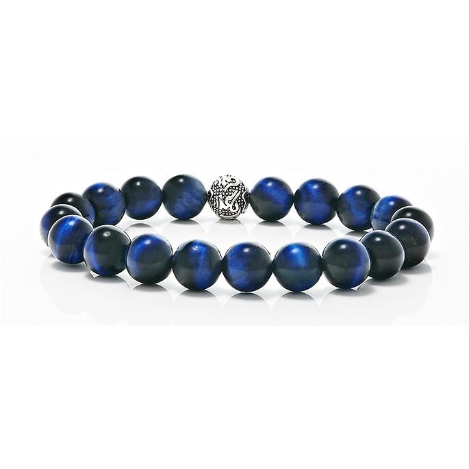 Dark Blue Tiger Eye  Natural Gemstone 12 mm Beaded Bracelet with Five 12 mm Solid Sterling Silver 925 Bead Elasticated Bracelet