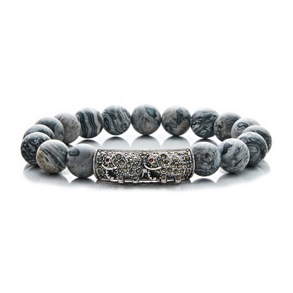 Grey Leopard Skin Jasper Beaded Bracelet | Sterling Silver Jewelry | Grey Gemstones