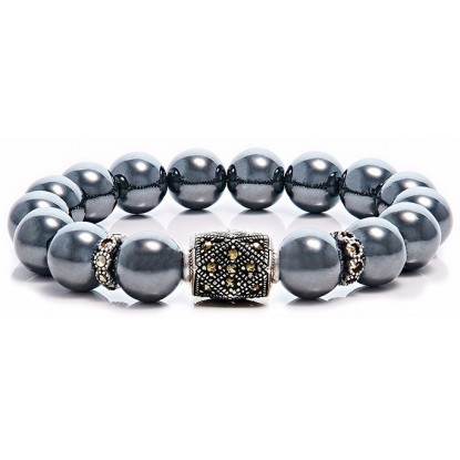 Hematite Beaded Bracelet | Sterling Silver Jewelry | Irony Gemstones