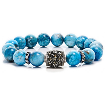 Apatite Beaded Bracelet | Sterling Silver Jewelry | Turquoise Gemstones