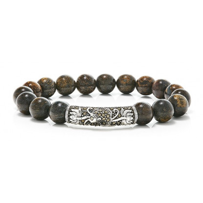 Bronzite Beaded Bracelet | Sterling Silver Jewelry | Dark Brown Gemstones