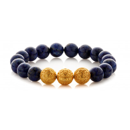 Lapis Lazuli Beaded Bracelet | Triple 24 K Gold Plated Silver Beads | Blue Gemstones
