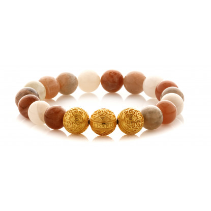 Tri Colored Moonstone Beaded Bracelet | Triple 24 K Gold Plated Silver Beads