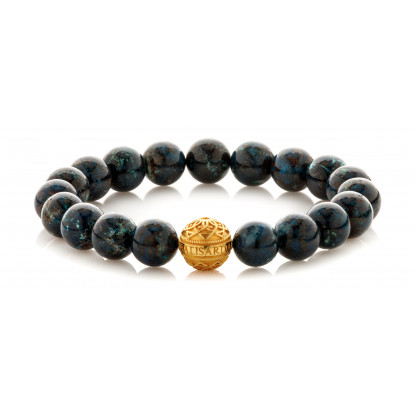 Chrysocolla Beaded Bracelet | 24 K Gold Plated Silver Bead | Dark Blue Gemstones
