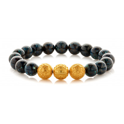 Chrysocolla Beaded Bracelet | Triple 24 K Gold Plated Silver Beads | Dark Blue Gemstones