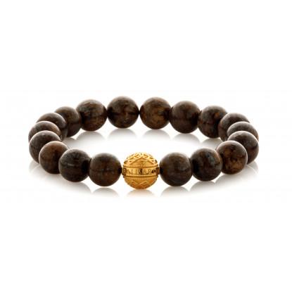 Bronzite Beaded Bracelet | 24 K Gold Plated Silver Bead | Dark Brown Gemstones