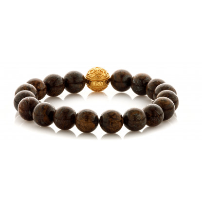 Bronzite Beaded Bracelet | 24 K Gold Plated Silver Bead | Dark Brown Gemstones