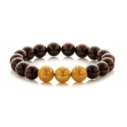 Garnet Beaded Bracelet | Triple 24 K Gold Plated Silver Beads | Claret Gemstones