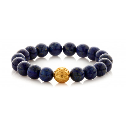 Lapis Lazuli Beaded Bracelet | 24 K Gold Plated Silver Bead | Blue Gemstones