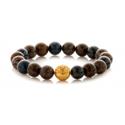 Mixed Chrysocolla Bronzite Snowflake Beaded Bracelet | 24 K Gold Plated Silver Bead | Multicolored Gemstones