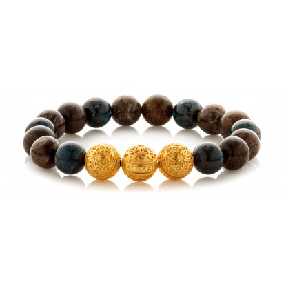Mixed Chrysocolla Bronzite Snowflake Beaded Bracelet | Triple 24 K Gold Plated Silver Beads | Multicolored Gemstones