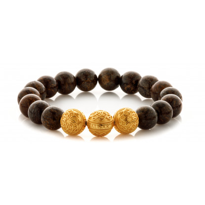 Bronzite Beaded Bracelet | Triple 24 K Gold Plated Silver Beads | Dark Brown Gemstones