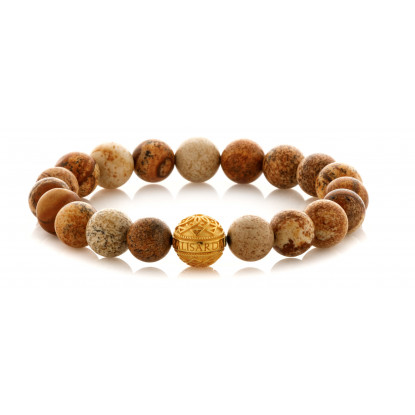 Picture Jasper Beaded Bracelet | 24 K Gold Plated Silver Bead | Brown Gemstones