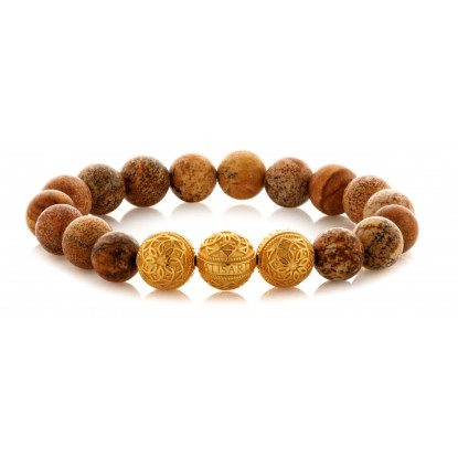 Picture Jasper Beaded Bracelet | Triple 24 K Gold Plated Silver Beads | Brown Gemstones