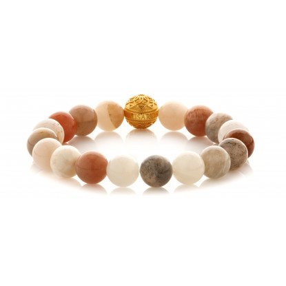 Tri Colored Moonstone Beaded Bracelet | 24 K Gold Plated Silver Bead