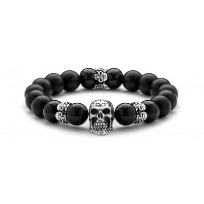Black Onyx & Matte Onyx Beaded Bracelet | Sterling Silver Statement Skull Jewelry | Black Gemstones