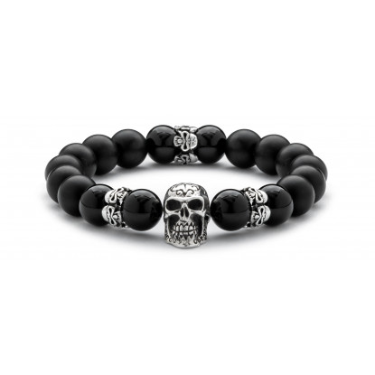 Black Onyx & Matte Onyx Beaded Bracelet | Sterling Silver Statement Skull Jewelry | Black Gemstones