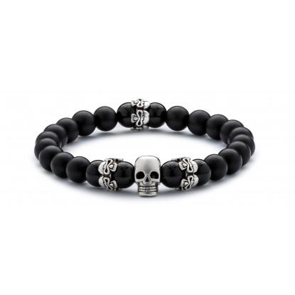 Black Onyx & Matte Onyx Beaded Bracelet | Sterling Silver Skull Jewelry | Black Gemstones
