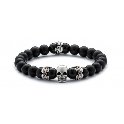 Black Onyx & Matte Onyx Beaded Bracelet | Sterling Silver Skull Jewelry | Black Gemstones